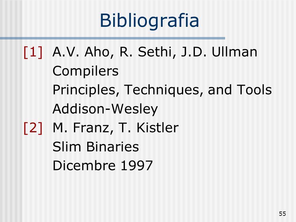 Bibliografia [1] A.V. Aho, R. Sethi, J.D. Ullman Compilers